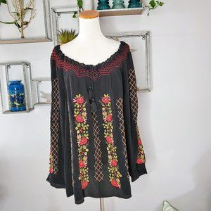 J. Jill Embroidered Peasant Top Shirt 2X Black NWT